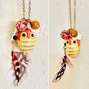 🌻 Boho Owl Necklace Pendant Feather Orange Gold